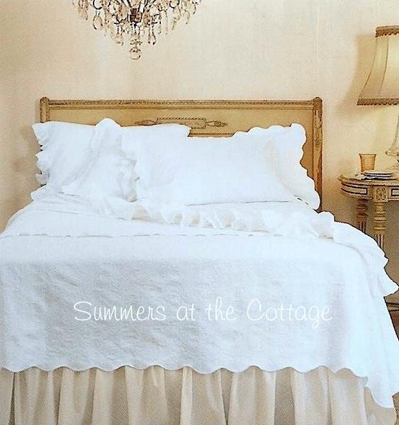 White Cotton Frayed Ruffle Sheet Set