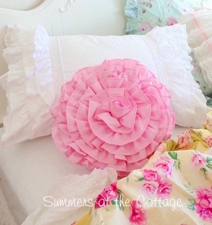 White Ruffles Crochet Lace Pillow Sham