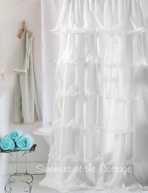 White Ruffles Shower Curtain