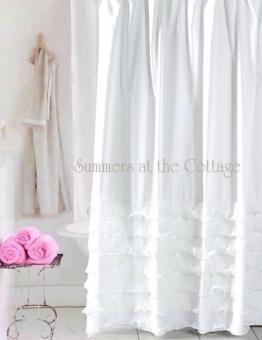 Breezy White Waves of Ruffles Shower Curtain