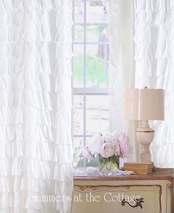 French Cottage White Ruffle Drapes