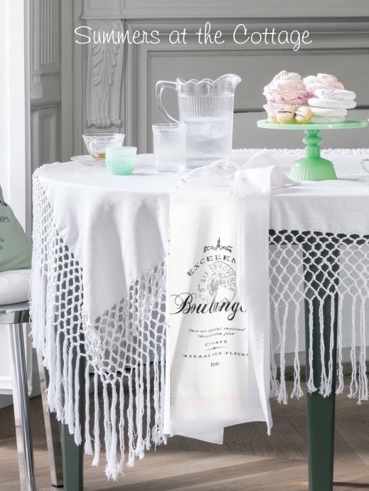 White Fringed Tablecloth