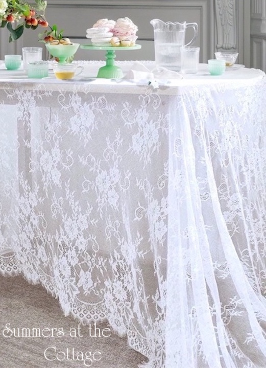 Farmhouse white roses lace tablecloth