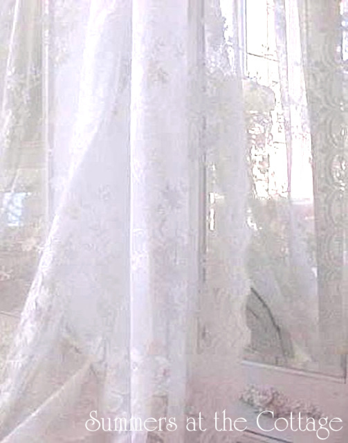 White Lace Vintage Roses Drapes