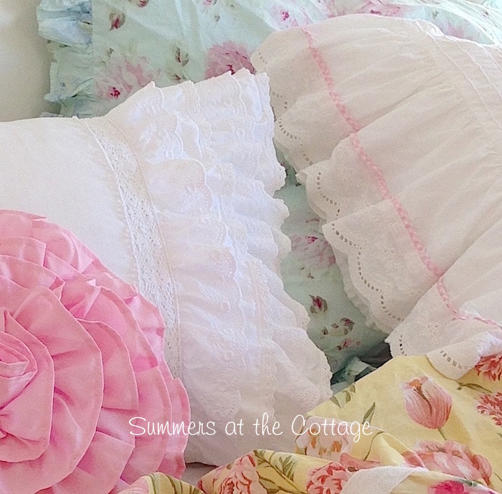 Shabby Chic White Ruffle Pillow Sham
