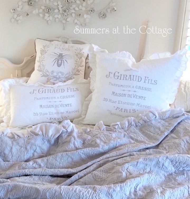French Linen White Ruffles Pillows