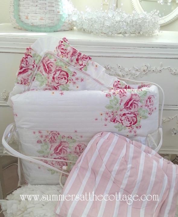 Pink Roses Comforter Sham Bedskirt Valance