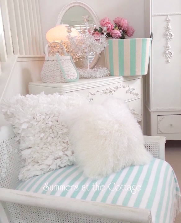 white rag ruffle pillows