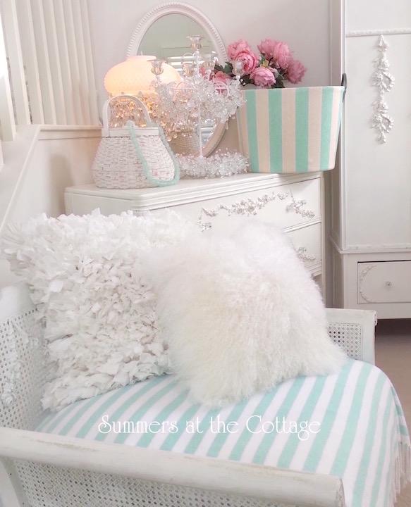 white rag ruffle pillows