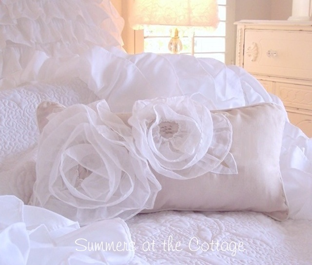 White Ruffled Roses Taupe Pillow