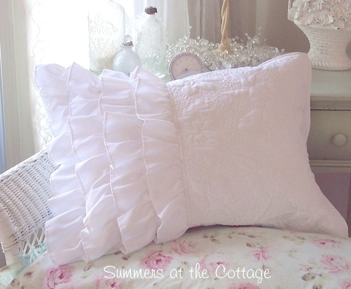Shabby Romantic Cottage Chic Dreamy White Ruffles Pillow Sham