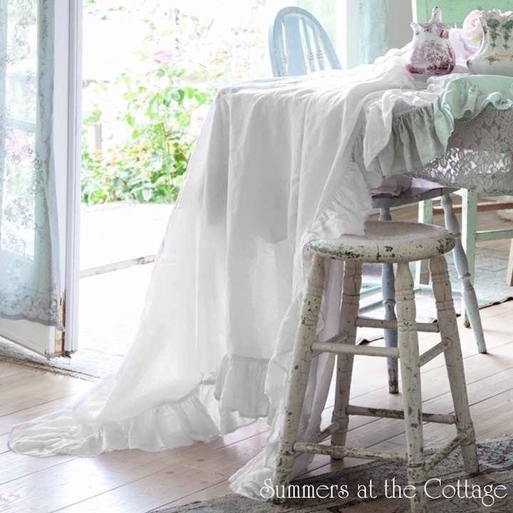 Shabby Chic White Cotton Ruffle Table Cloth