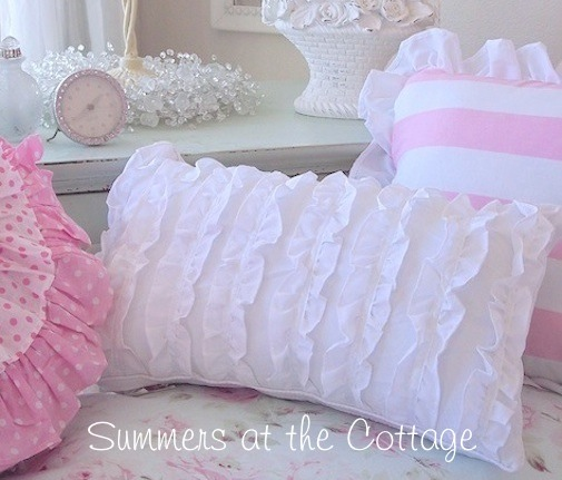 White Ruffled Boudoir Pillow