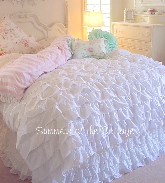 Dreamy White French Ruffles Duvet Set