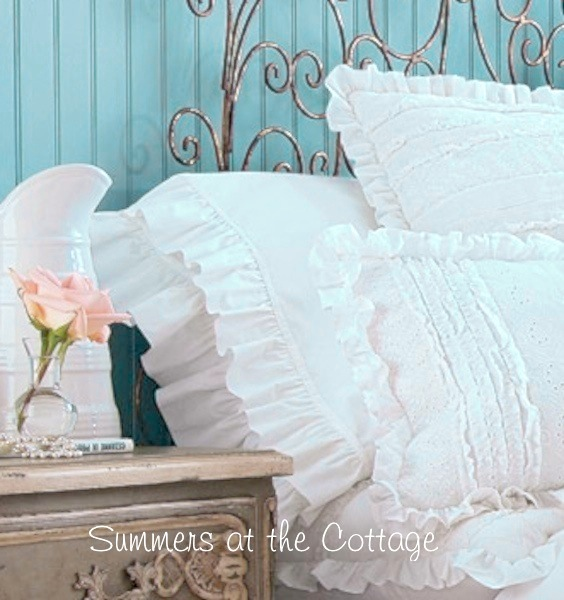 White Double Ruffle Pillow Case