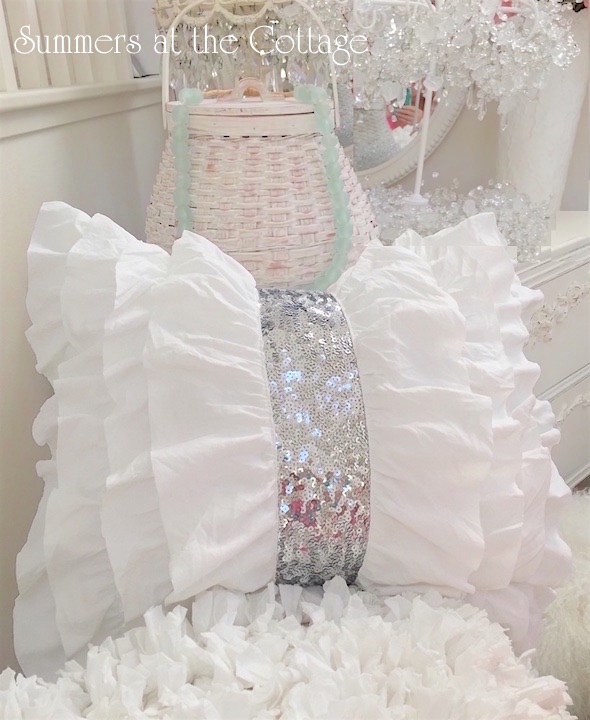 White Ruffles with Silver Sequins