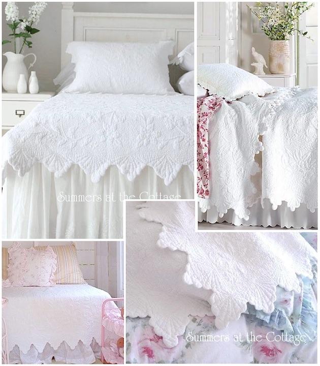 White Seashell Matelasse Quilt Set