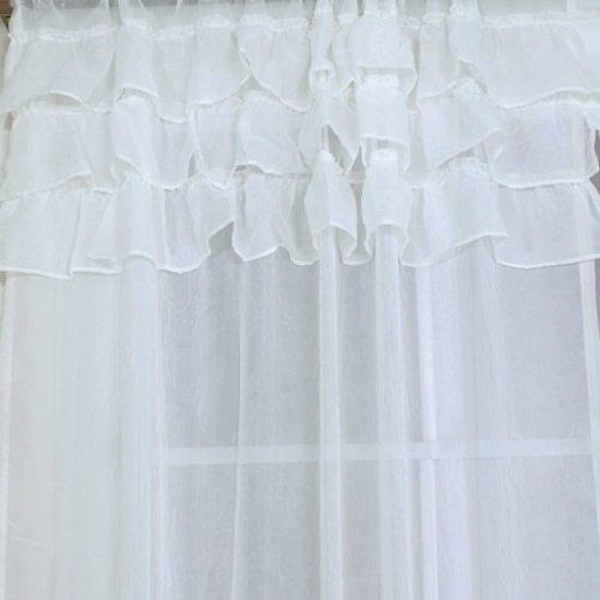 Sheer White Ruffles Curtain