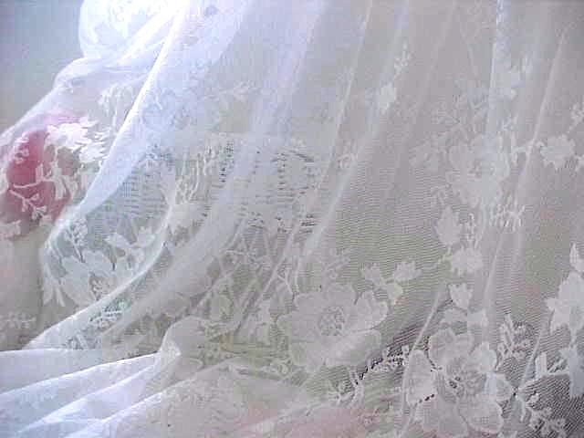 White Roses Lace Drapes