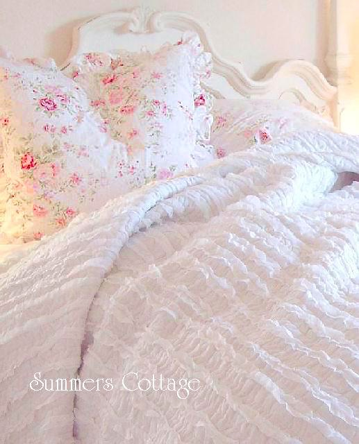 Cottage Chic Pink Roses Ruffled Euro Sham