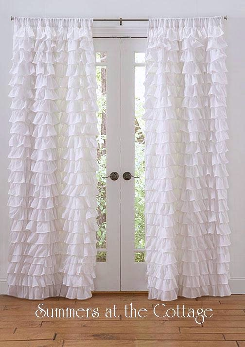 Curtains Ideas beach cottage curtains : SET OF 2 SHABBY BEACH COTTAGE CHIC WHITE PETTICOAT RUFFLE CURTAINS ...
