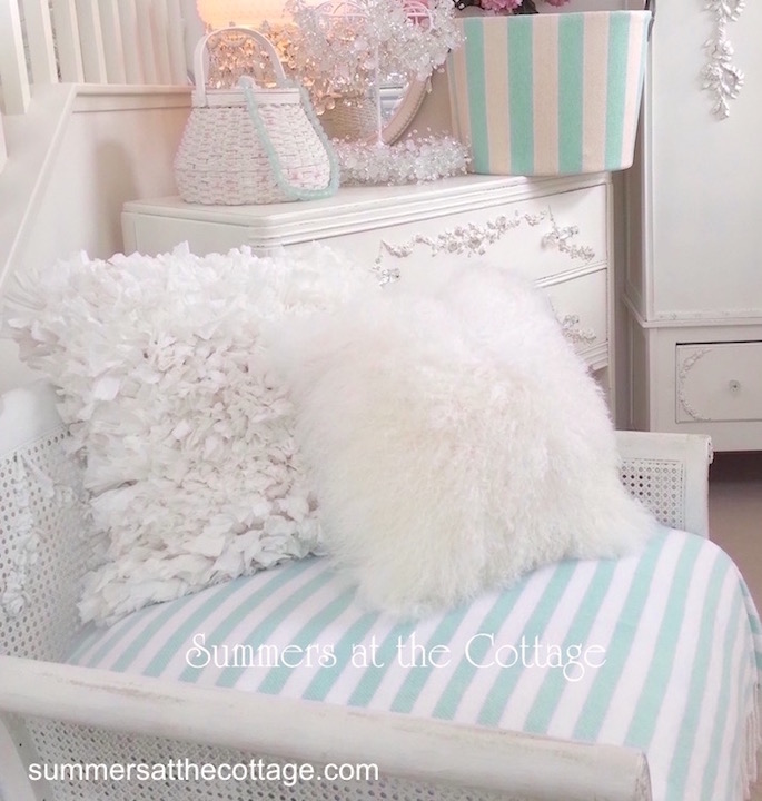 Shabby Chic Beach Pillows : COTTAGE CHIC RUFFLED PILLOWS AVAILABLE IN 2 COLORS - WHITE and CREAMY WHITE
