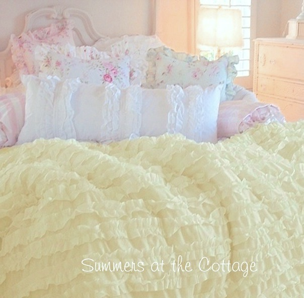 Dreamy Lemon Yellow Ruffled Comforter