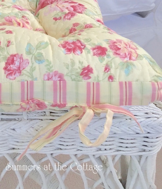Pink Roses Cabana Stripes Chair Seat Cushion