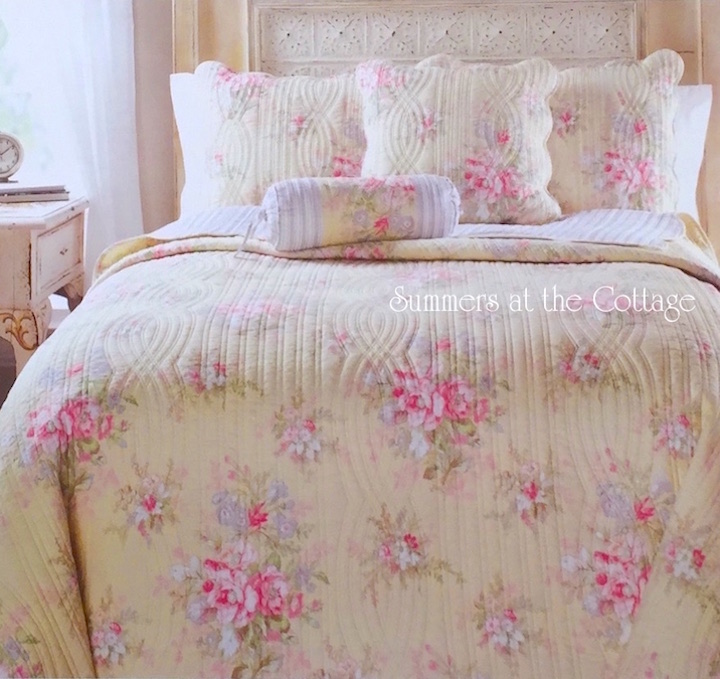 Yellow Pink Roses Quilt