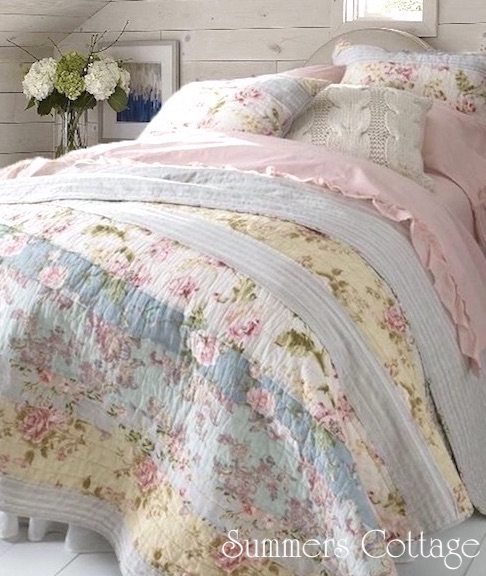 Pink Roses Yellow Blue Flowers Patchwork Quilt