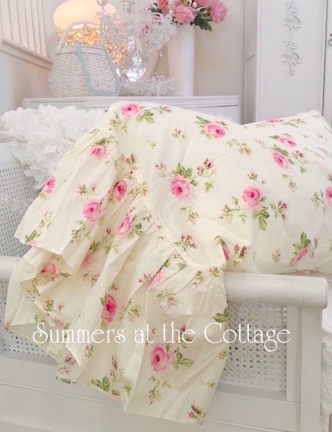 Yellow Pink Roses Ruffle Pillow Shams