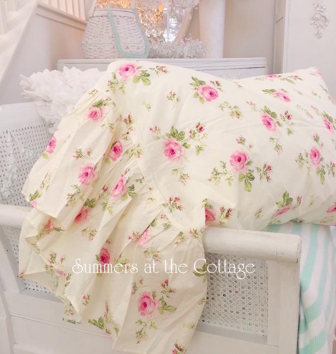 Yellow Pink Roses Ruffle Pillowcases