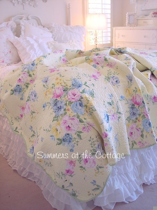 Summer Bedding Beach Cottage Yellow Pink Roses Blue