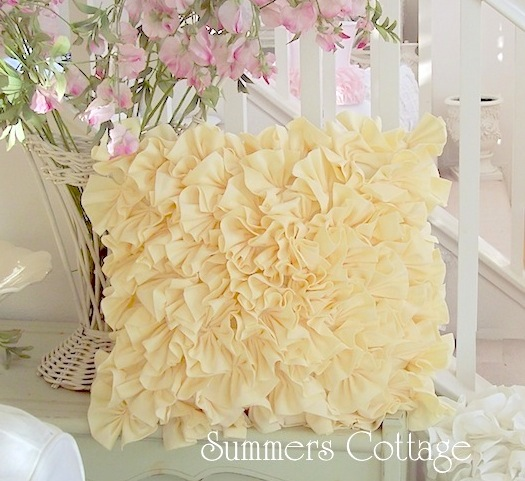 Cottage Yellow Ruffled Pillow