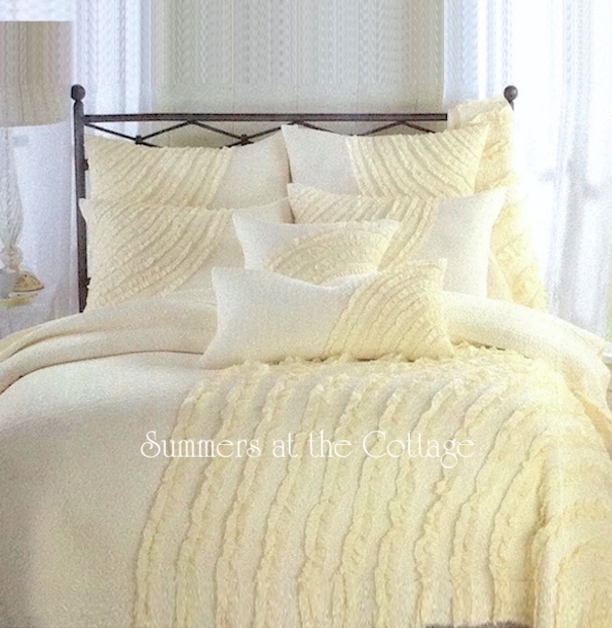 Sunshine Cottage Soft Yellow Ruffled Queen Quilt